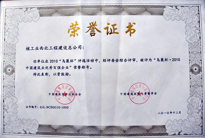 鸟巢杯荣誉证书